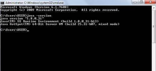 checking java version in cmd