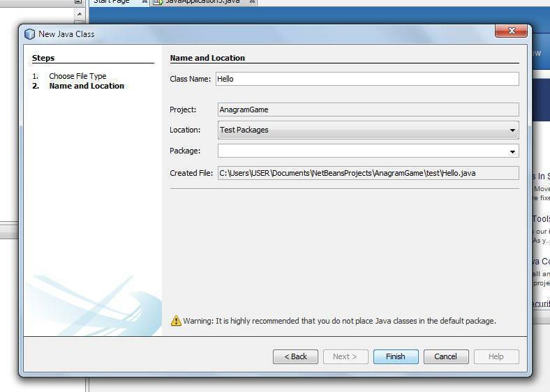 give class name to java file in Netbeans