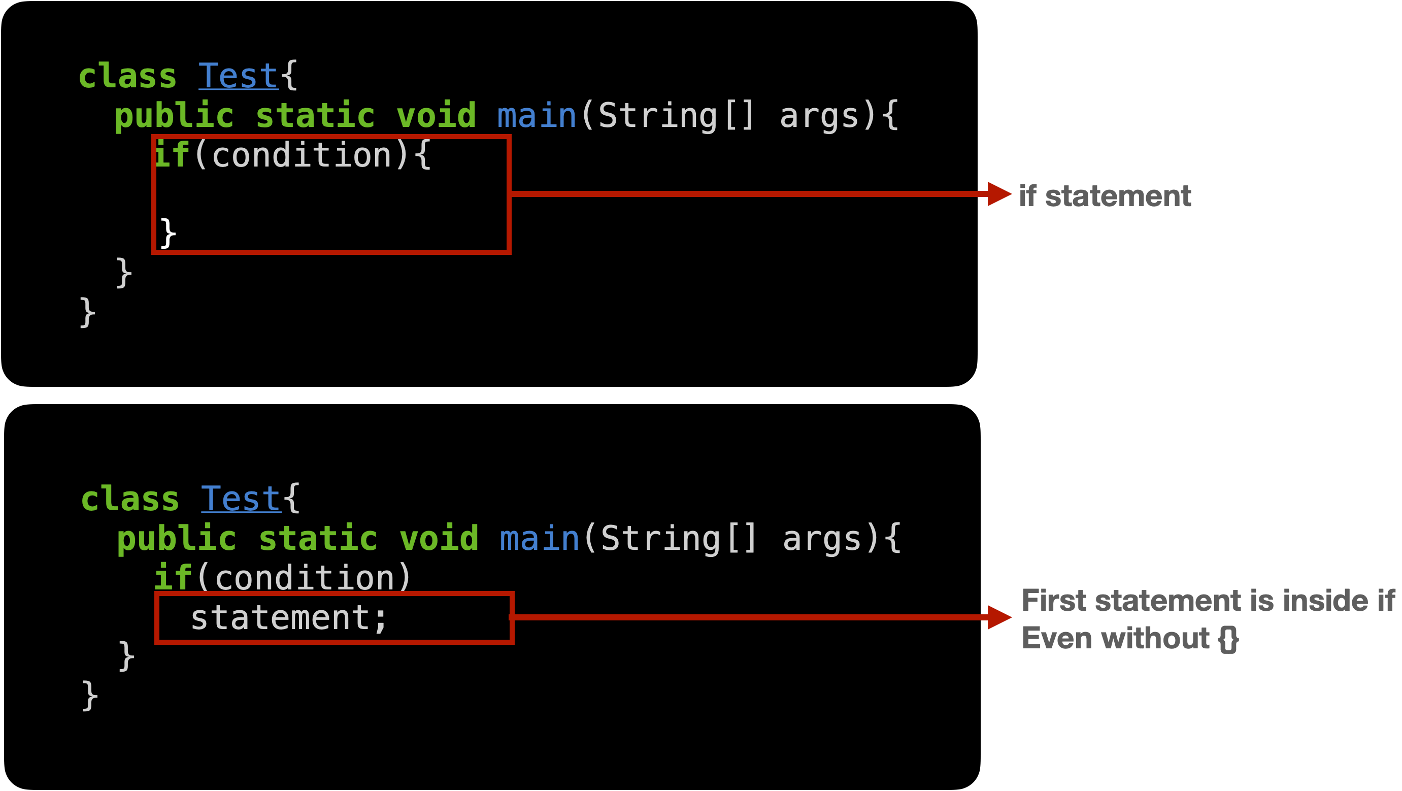 first statement of if in Java