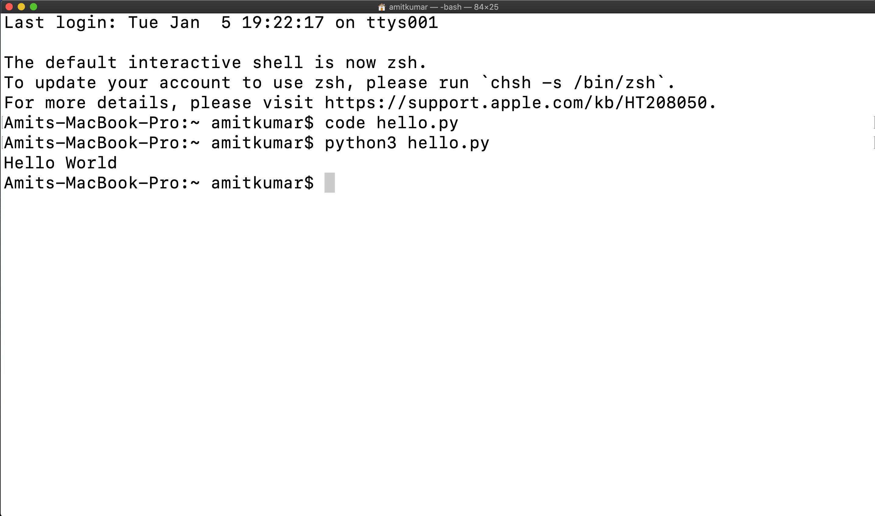 run python code in terminal