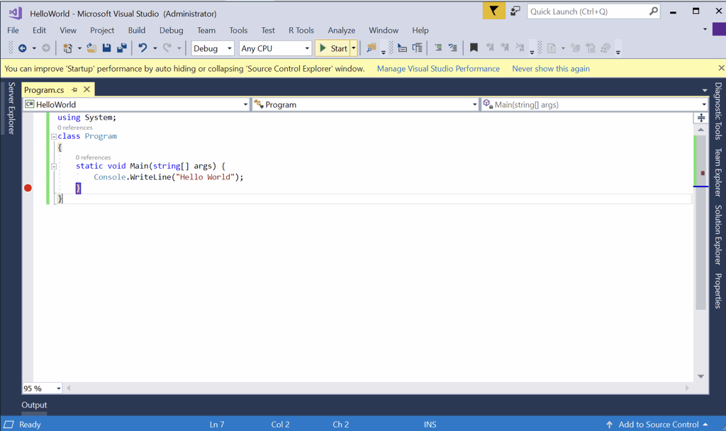 putting breakpoint in visual studio