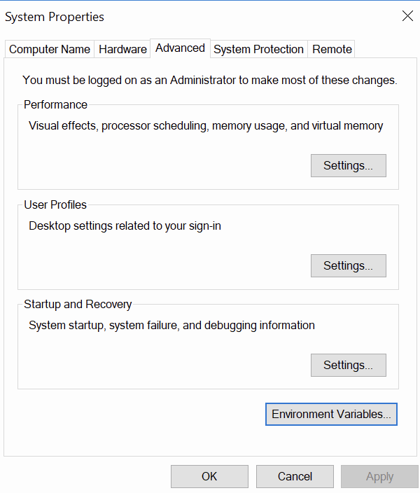 setting path variable in Windows
