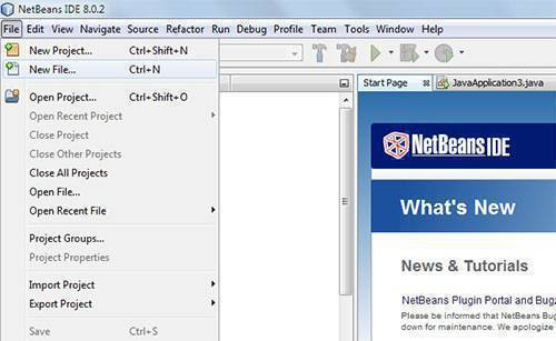 open new java file in Netbeans